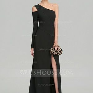 JJ's House Evening Gown Black Sweeping Train Dress
